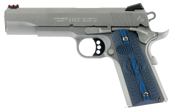 "Colt 1911 Competition 45 ACP 5"" 8+1 Stainless Steel Scalloped Blue Checkered G10 Grip"