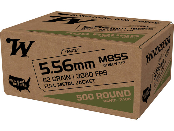 Winchester M855 5.56mm 62GR Green Tip  Ammunition 500rds