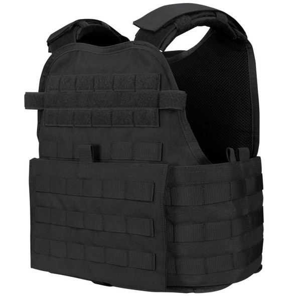 he Condor Outdoor Modular Operator Plate Carrier is made up of quality nylon material and is designed for complete ballistic protection carrier (Ballistic plates/soft armor not included). MOLLE webbing surrounds the carrier to allow for modular attachments and personalization. The padded adjustable shoulder straps and cummerbund ensure a true fit. This unique cummerbund features integrated soft armor pockets and it's compatible with our side plate. The interior is lined with 3D mesh to ensure ventilation and active comfort. The MOPC by Condor Outdoor is ready to take on any fight.