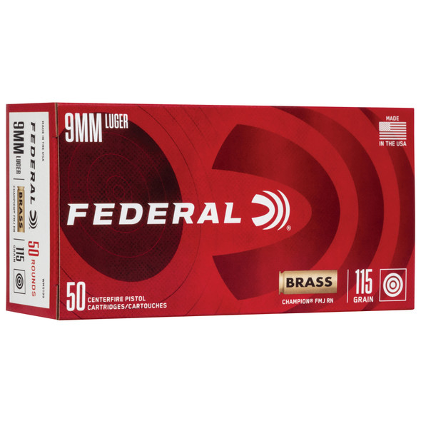 Federal Champion 9mm 115GR FMJ Ammunition 50 Rounds