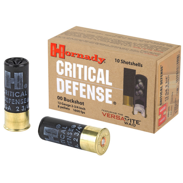 "Hornady Critical Defense 12GA 2.75"" 00 Buckshot Ammunition 10 Rounds"
