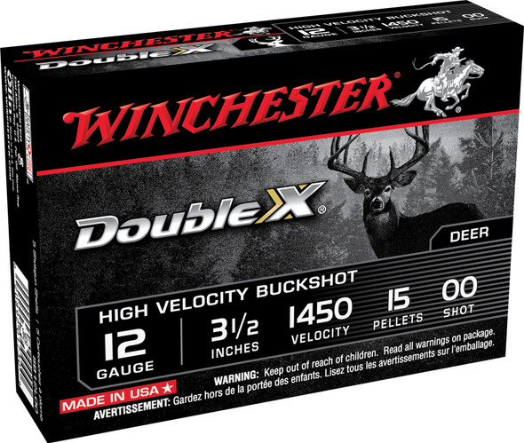 "Winchester Double X High Velocity 12GA 3.5"" 00 Buckshot Ammunition 5 Rounds"