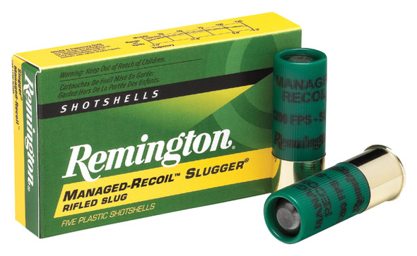 "Remington Managed-Recoil Slugger 12GA 2.75"" 1 oz  Shotshell Ammunition 5 Rounds"