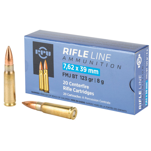PPU 7.62x39 123GR FMJ Ammunition 20 Rounds