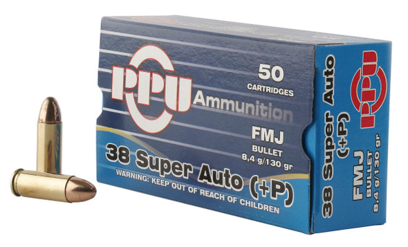PPU Handgun 38 Super +P 130GR FMJ Ammunitions 50rds
