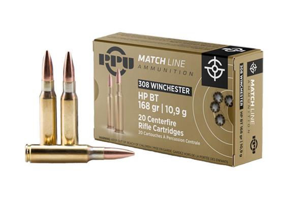 PPU Match Line .308 Winchester 168gr HPBT Ammunition 20rds