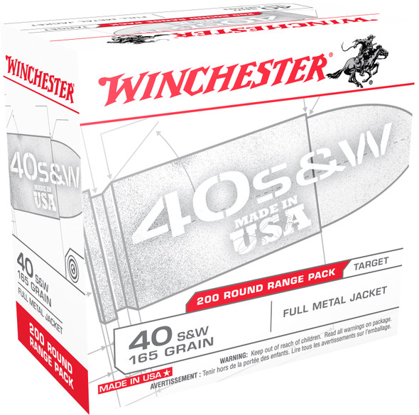 Winchester 40 S&W 165GR FMJ Ammunition 200 Rounds