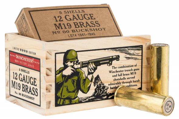 """Winchester WWII Victory Series 12GA 2.75"""" 9 Pellet 00 Buck Ammunition 5 Rounds"""