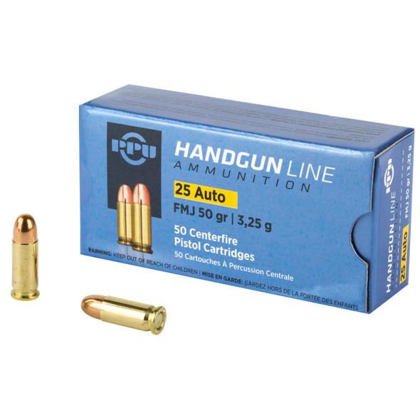 PPU 25 ACP 50gr FMJ Ammunition 50rds