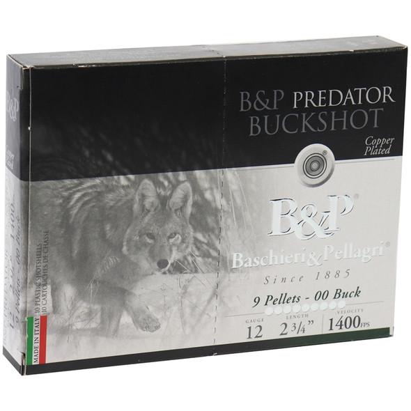 """B&P Predator 12GA 2.75"""" 9 Pellets 00 Buck Ammunition 10 Rounds"""