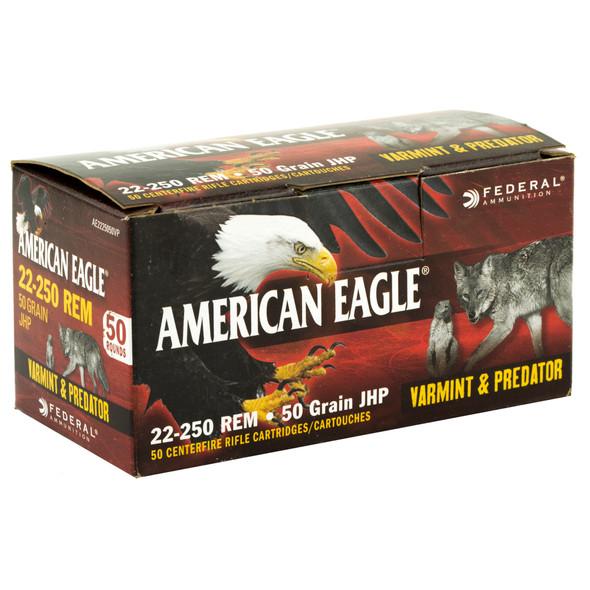 Federal American Eagle Varmint & Predator 22-250 Remington 50gr JHP Ammunition 50rds
