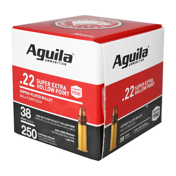 Aguila Super Extra High Velocity 22LR 38gr Copper Plated HP Ammunition 250rds