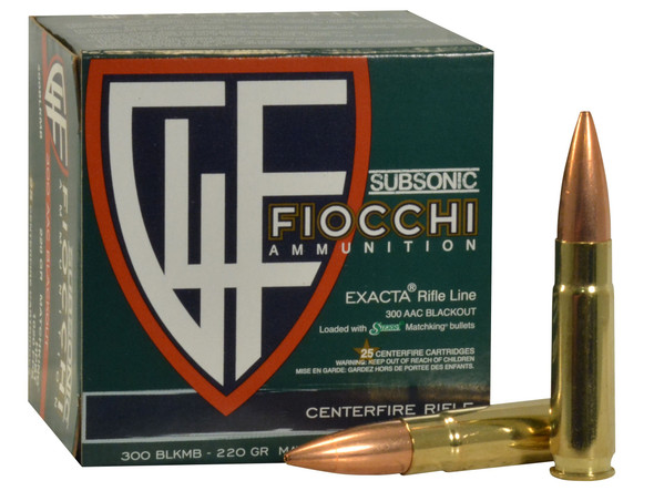 Fiocchi Exacta 300 Blackout Subsonic 220gr Sierra MatchKing HP Boat-Tail 25rds