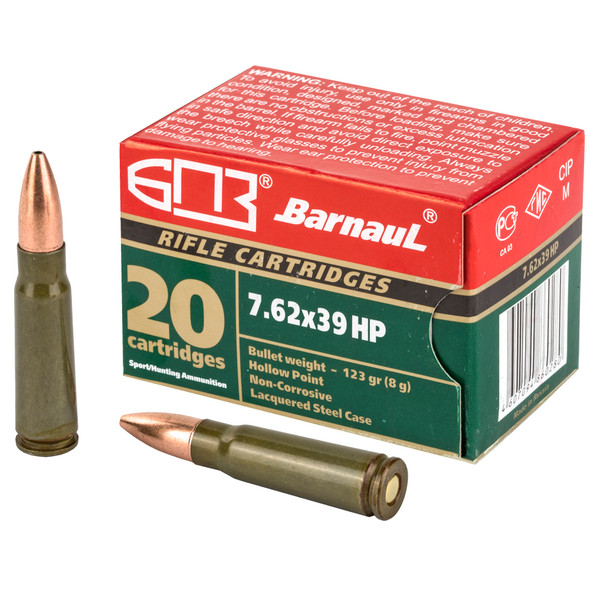 Barnaul 7.62x39mm 123gr HP Steel Lacquered Case Ammunition 20rds