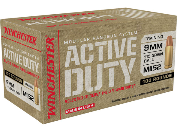 Winchester M1152 Active Duty 9mm 115gr FMJF Ammunition 100 Rds