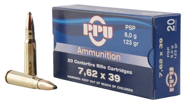 PPU 7.62x39mm 123gr PSP Ammunition 20rds