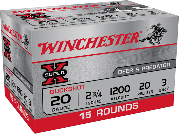 """Winchester Super X 20GA 2.75"""" 20 Pellets 3 Buck Shot 15rds"""