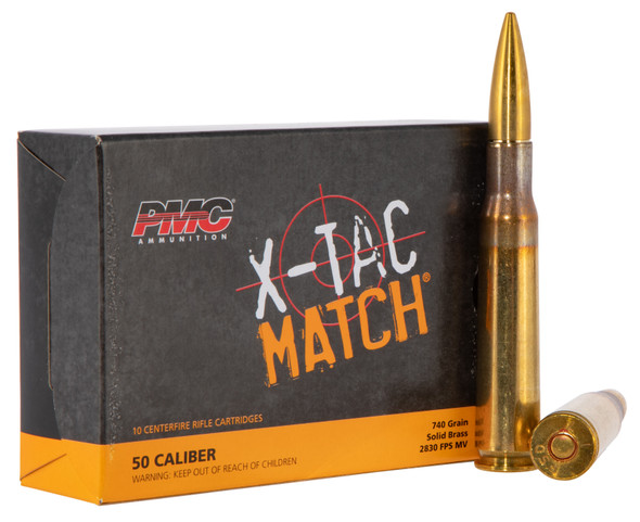 PMC 50XM Match 50BMG 740gr Solid Brass Ammunition 10rds