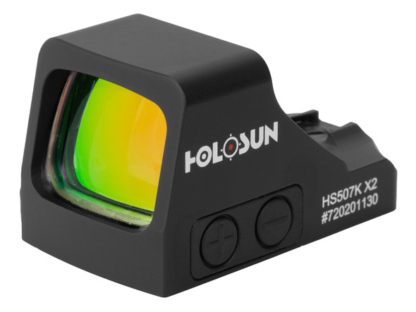 The HE507K-GR X2 is an open reflex optical sight designed for concealed carry pistol applications. The X2 Series pistol optics feature two improvements. First is the addition of Lock Mode from our 2018-2019 LE pistol optic models. Lock Mode, when activated, locks the buttons preventing inadvertent setting changes. Second, the buttons have been redesigned to compliment the Lock Mode by placing them lower and out of the way. Additional features include Holosun's Super LED with up to 50k hours battery life, Multi-Reticle System, and Shake Awake.