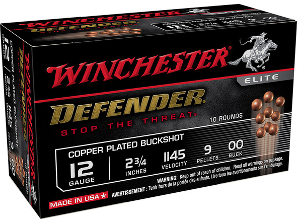 "Winchester Defender Copper 12GA 2.75"" 9 Pellets 00 Buck Shot 10rds"