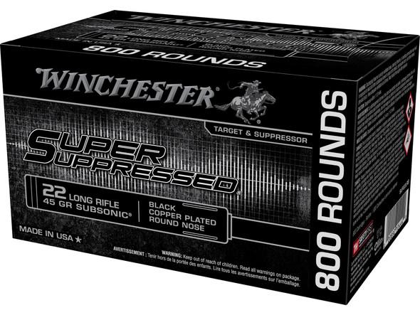 Winchester Super Suppressed 22LR 45gr Black Copper Plated RN Ammunition 400rds