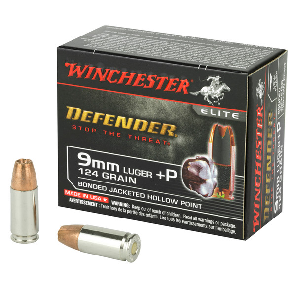 Winchester Defender 9MM 124gr +P PDX1 Bonded JHP 20rds