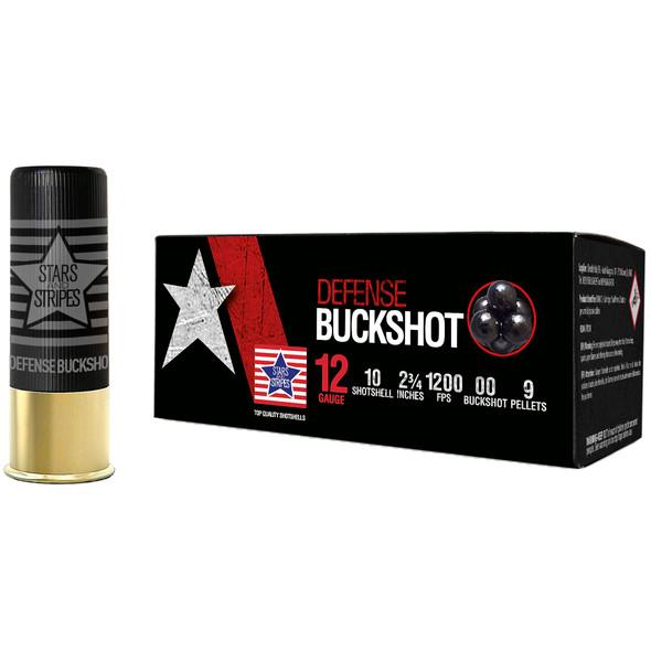 Stars & Stripes Defense 12GA Buckshot 9 Pellets Ammunition 10rds