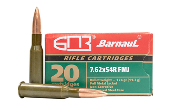 Barnaul 7.62X54R 174gr FMJ Ammunition 20rds Lacquer Coated Steel Cases