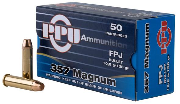 PPU PPH357MF Handgun 357 Mag 158 gr Flat Point Jacketed (FPJ) 50 Bx/ 10 Cs