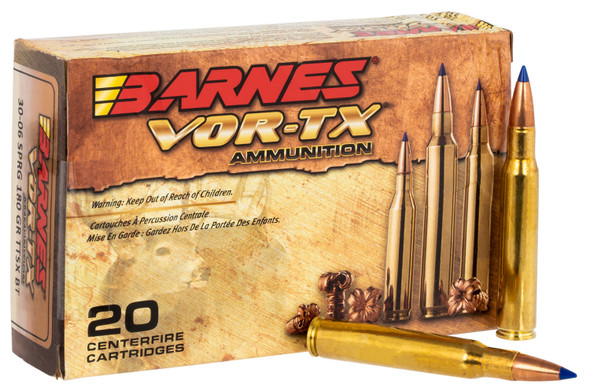 Barnes VOR-TX 30-06 Springfield 180gr Tipped TSX Boat-Tail Ammunition 20rds