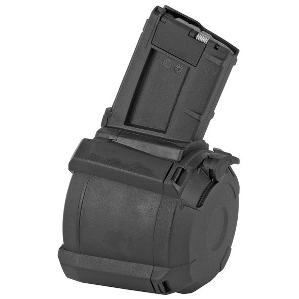 The PMAG D-60 AR/M4 GEN M3 is a durable, lightweight, highly reliable 60-round 5.56x45 NATO/.223 Remington polymer drum magazine for AR15/M4 compatible weapons. With a larger capacity than previous PMAGs, the PMAG D-60 gives the shooter 60 rounds of ammunition, effectively allowing the same round count as two standard capacity 30-round magazines without requiring a critical reload. The unique drum configuration keeps the height of the magazine manageable as well as allowing for prone firing and easier storage. Features an easy-to-use loading lever, paint pen dot matrix for easy marking, and a rear window for instant capacity indication. Compatible with a wide range of NATO firearms such as the M4, M16, SCAR MK16/16S, HK416, MR556, M27 IAR, IWI Tavor, and others.