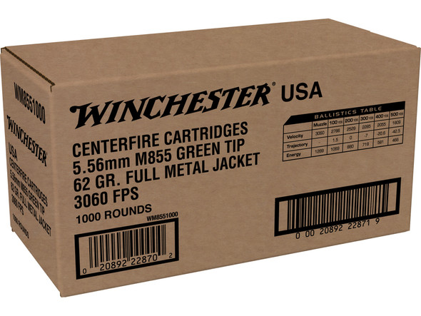 Winchester M855 Green Tip 5.56mm  62gr FMJ 1000rds