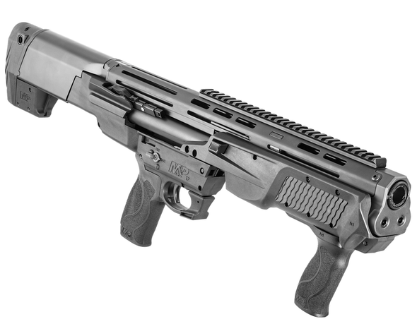 """Smith & Wesson, M&P12 Bullpup, Pump Action, 12 Gauge 3"""" Chamber, 19"""" Barrel, Black Finish, Polymer Stock, Holds 12 Rounds of 3"""" or 14 Rounds of 2.75"""", Threaded For Chokes, Interchangeable Palmswell Grip Inserts, 27.8"""" OAL, 8.3 Pounds, Carry Case, Ambi Safety Selector, Loaded Chamber Indicator, Picatinny Rail, MLOK Slots on Barrel Shroud, Includes Modified and Cylinder Chokes, Remington Choke Compatible Threads, 7+7 Rounds"""