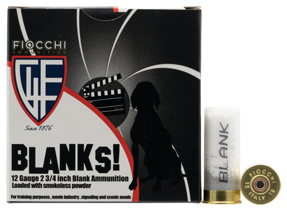 """Fiocchi blanks are very useful or reenactments, ceremonies, training exercises and hunting dog training. They will give you the noise and realism of conventional ammunition without the projectile. 12 Ga., 2 3/4"""" Blank, Granulated Plastic Filler"""