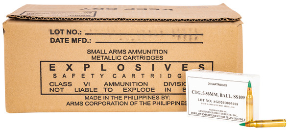Armscor 5.56mm 62gr M855 SS109 FMJ Green Tip 20rds