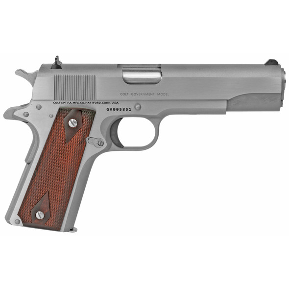 """Colt  1911 Government 45 ACP 5"""" 7+1 Stainless Steel Rosewood Grip"""