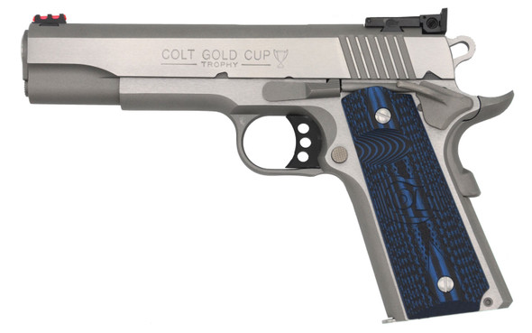 """Colt Mfg O5073GCL 1911 Gold Cup Lite 38 Super 5"""" 8+1 Stainless Steel Polished Scalloped Blue Checkered G10 Grip FO Sights"""