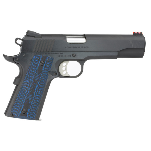 """Colt 1911 Competition 45 ACP 5"""" 8+1 Blued Carbon Steel Scalloped Blue Checkered G10 Grip"""