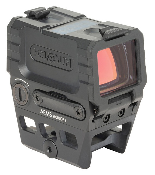 Holosun AEMS combines a large field of view in a compact, lightweight package. AEMS has double the glass surface area and is 11% shorter than standard 20mm micro style optics and weighs just 3.9oz. AEMS is equipped with Holosun innovations like Solar Failsafe, Shake Awake, Multi-reticle System, and up to 50k hour battery life. AEMS features a 7075-aluminum housing with removable, clear, flip-down lens covers. The included lower 1/3 co-witness mount is removable providing adaptability across multiple firearms platforms.