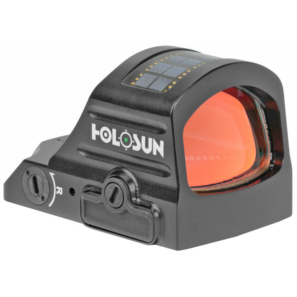 Holosun Technologies, 407C-GR-X2, Green Dot, 2 MOA, Black Color, Side Battery, Solar Failsafe. The HE407C-GR is an open reflex optical sight designed for pistol applications. Features include Holosun's Green Super LED with up to 50k hours battery life, 2MOA dot only, Solar Failsafe, and Shake Awake. 2 MOA Green Dot Reticle Up to 50,000 Hours Battery Life (Setting 6) 12 Brightness Setting: 10 DL & 2 NV Compatible Convenient Tray Battery Compartment Parallax-free & Unlimited Eye Relief