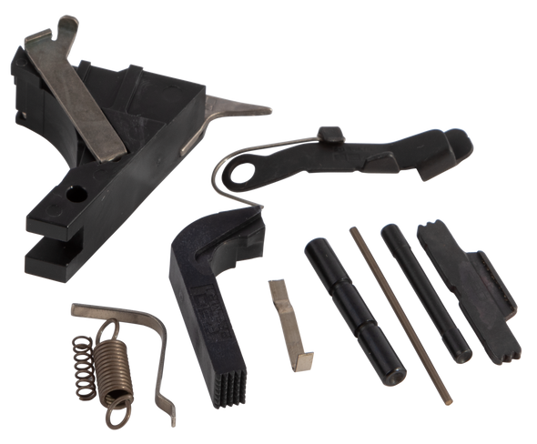 The Polymer80 PF-Series FLTKIT Pistol Frame Parts Kit is compatible with the PF940v2, PF940C, PF940SC, G17, G19 and G26 frame assemblies. Giving the end user multiple options with one kit. The PFP-FLTKIT includes all frame components needed without the trigger bar, trigger shoes and trigger safety. The perfect kit for the customer who already has a custom trigger. Also, there are three options for the slide lock spring, compact, subcompact and full-size slide lock spring. No matter what size 9mm PF-Series frame the end user has, the Polymer80 Pistol Frame Parts Kit is perfectly suited for your next build. The following parts are included:Trigger Spring, Trigger Housing, 9mm Ejector, Connector, Magazine Release, Magazine Release Spring, Slide Lock Lever, Compact Slide Lock Spring, Full Size Slide Lock Spring, Subcompact Slide Lock Spring (coil spring type), Slide Catch Lever, Trigger Pin, Locking Block Pin.