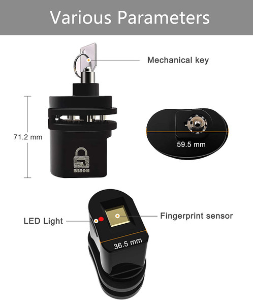 """The BISON L2 Fingerprint Trigger Lock's aluminum casing houses a capacitive sensor capable of reading your fingerprint profile at any orientation with 99.999% accuracy and provides 360 degree fingerprint recognition for up to 10 user profiles .With a touch of your finger, the lock pushes apart releasing the trigger in 0.3 seconds. Comes with a pick and drill resistant """"butterfly"""" tumble key lock, increased tensile strength and improved programming. A key override acts as a secondary release mechanism for initial setup and in case of battery drain. The BISON L2 utilizes retractable pins to provide universal compatibility, fitting the vast majority of handguns, shotguns and rifles. *Note- Fits pistols, rifles, revolvers and shotguns with trigger dimensions of 2.67"""" L x 1.37"""" H x 0.70"""" W."""
