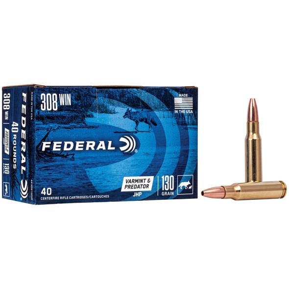 Federal American Eagle Varmint & Predator .308 Winchester 130gr JHP Ammunition 40rds