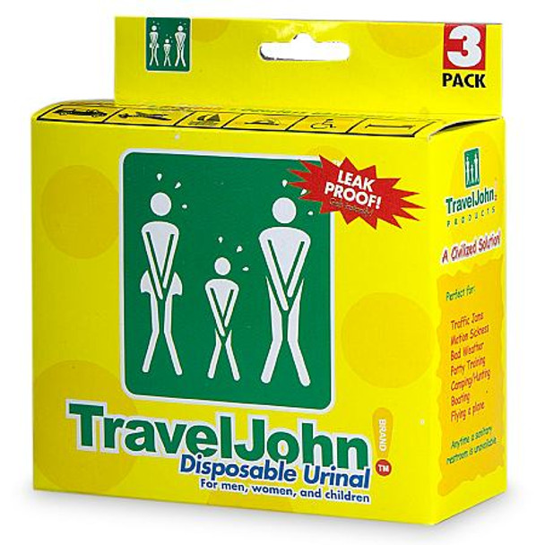 Travel John Disposable Urinal for Men, Women & Children 3/Pack