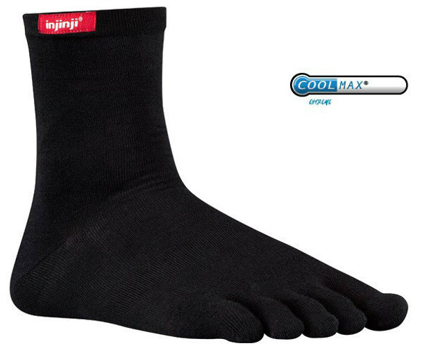 Injinji Sport Original Weight Crew Socks Black