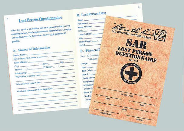 Rite In The Rain SAR Lost Person Questionaire