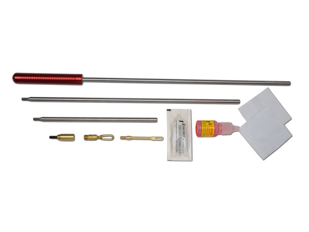 The Pro-Shot Universal Kit contains the superior 3 piece stainless micro-polished rod and is excellent for carrying to the range or hunting trips. Items include rod, brass patch holder, shotgun adaptor, shotgun patch holder, 1-step cleaner and lubricant, cleaning patches, and is packaged in a reusable tube for storage and convenience.