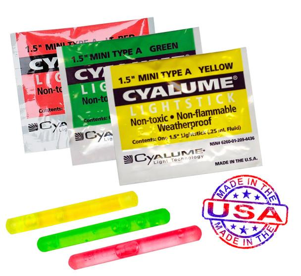 """Cyalume Mini 1 1/2"""" Lightsticks 100/Pack"""