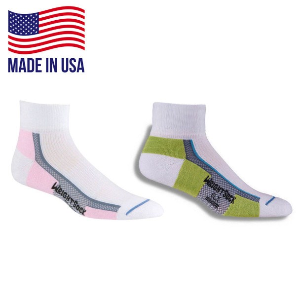 Wrightsock 155 Single Layer SLX Quarter Socks 6/Pack Made in the USA