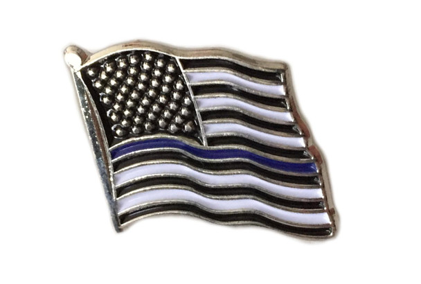 Thin Blue Line American Flag Pin